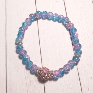 Jewelry - Crackled Glass Beads Stretch Bracelet